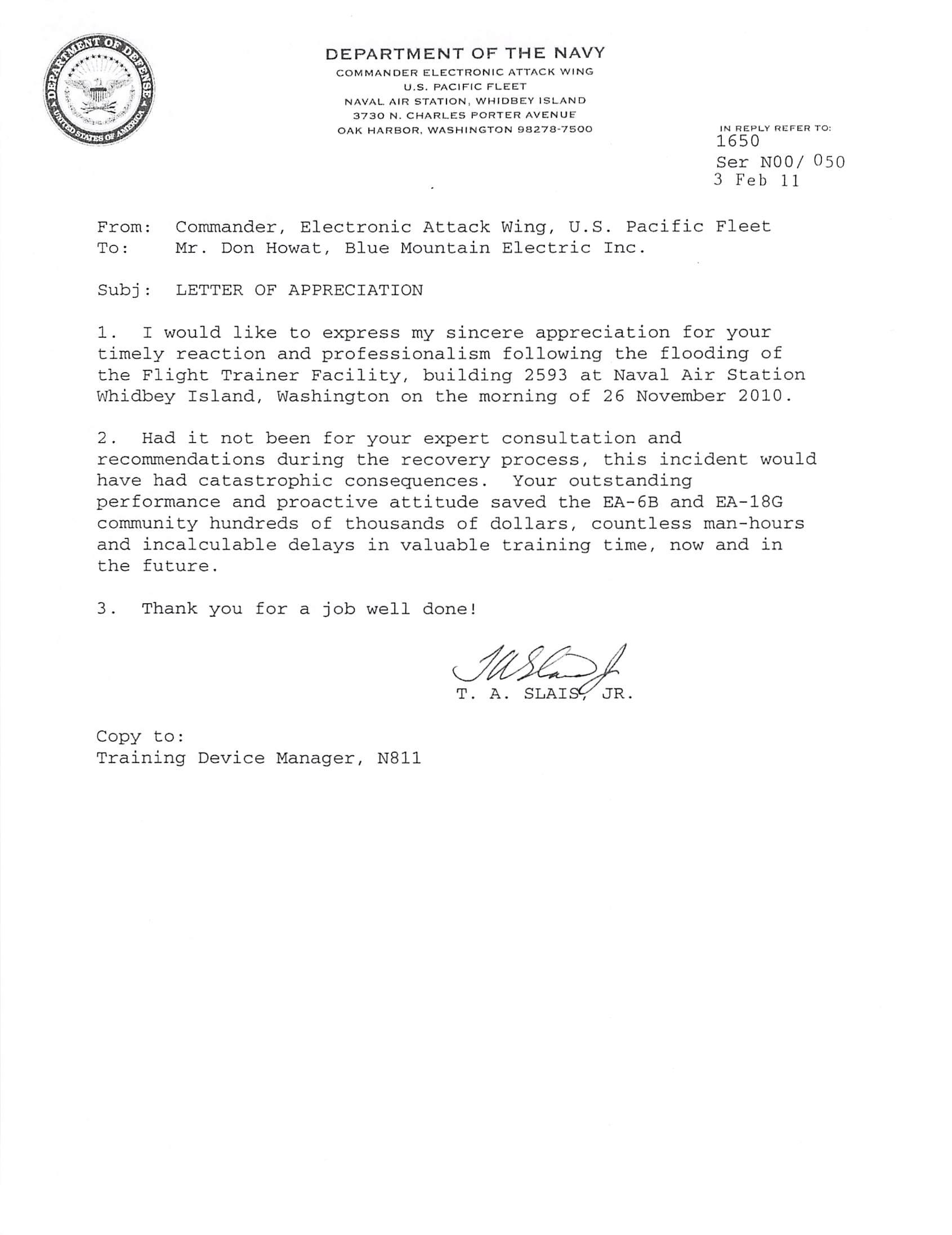Commander Flood Letter