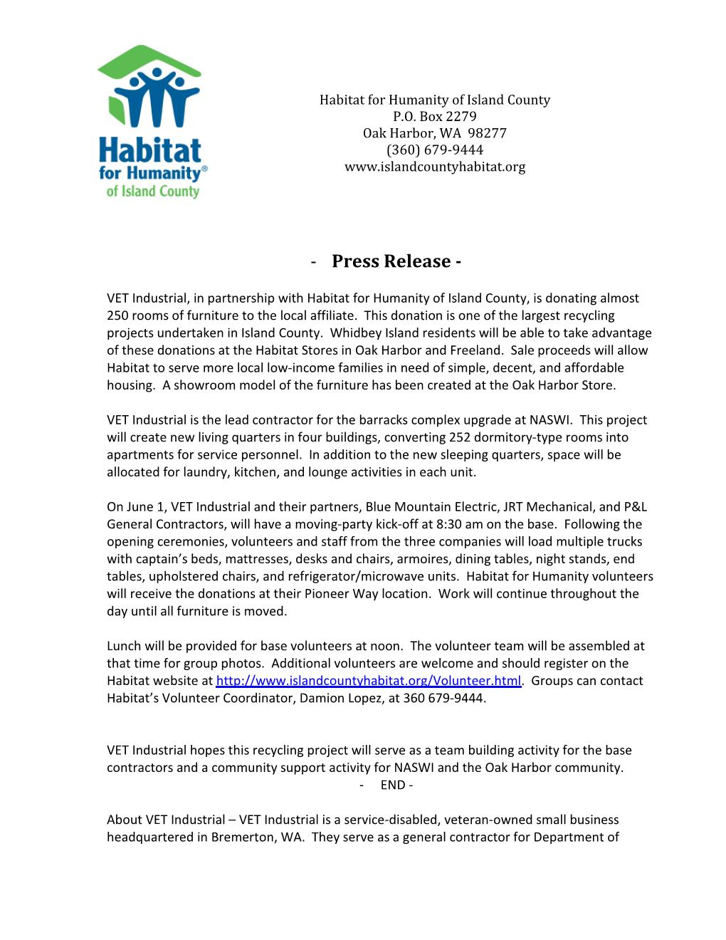 VET Industrial Press Release Page 001