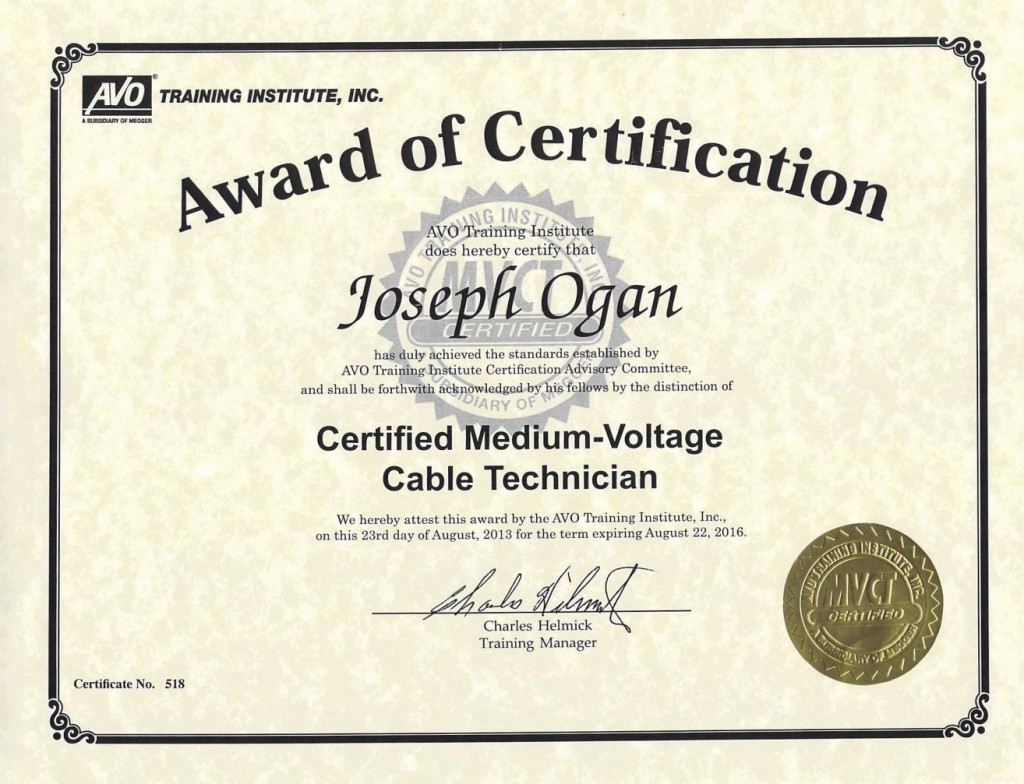 Bme Employs Certified Medium Voltage Technicians Blue